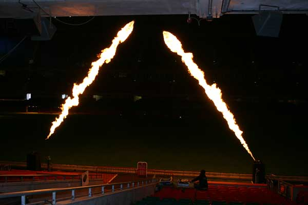 Five way flames special effects at Millennium Stadium