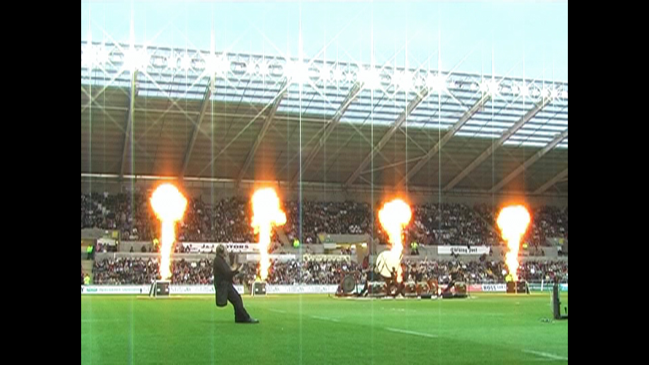 Dragon flame fire system special effects for Swansea Ospreys