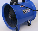 Inline blower for creating wind special effects