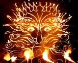 Sun king fire drawing at the Paralympic Closing Ceremony