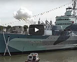 MTFX used pyrotechnics to create this simulated firing of the 6 inch guns on HMS Belfast.