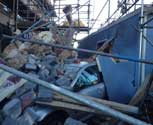 Portacabin Crash with rubble and scaffold collapse