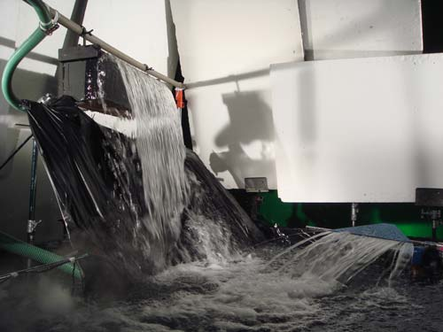 Water special effects using waterfall effects, heated water, water filtration and water fishtails